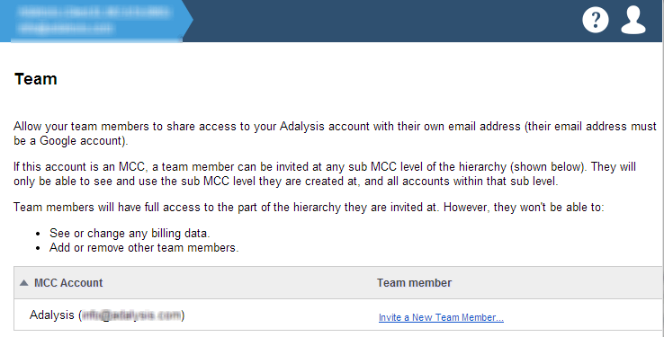 Team members invitation and management tool