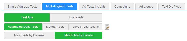 "New ""Multi-Adgroup tests"" tab"