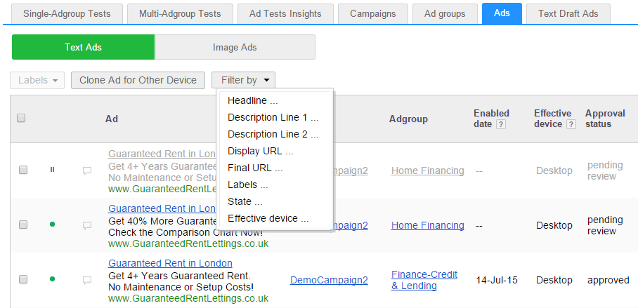 Filtering text ads