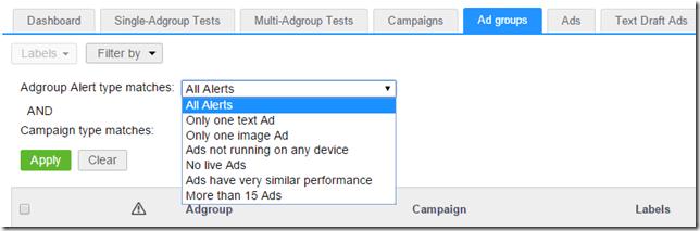 Filtering ad group alerts thumbnail