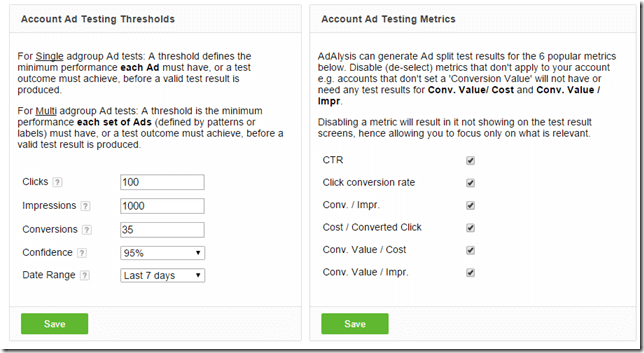 Ad testing thresholds and metrics options thumbnail