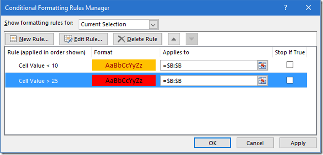 Conditional formatting options thumbnail