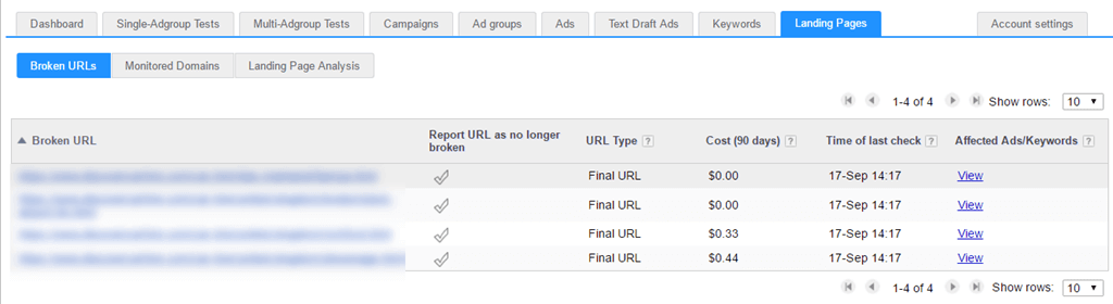 Broken URLs analysis