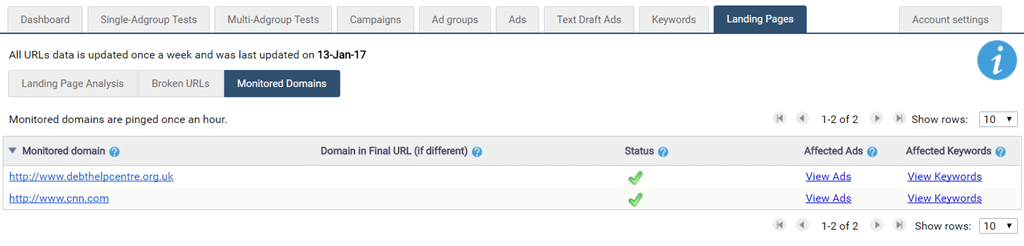 Domains status
