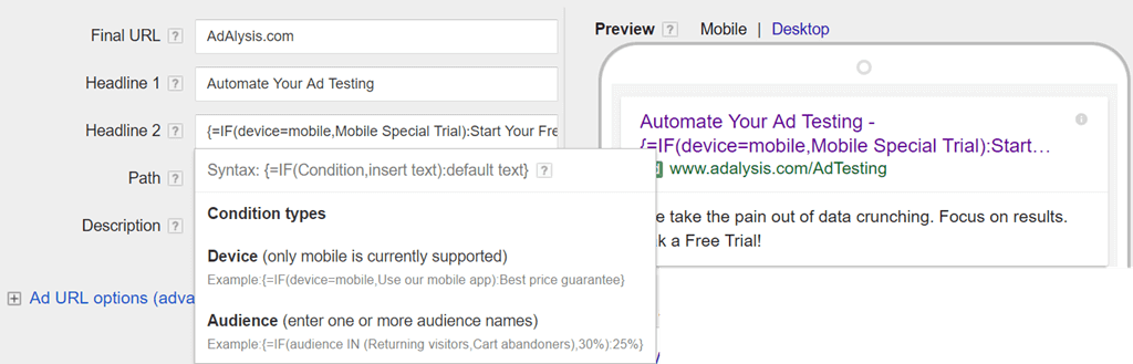 """Setting up """"IF ads"""" in Google Ads"""