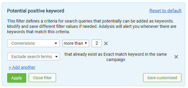 Search term filters for exact match keywords