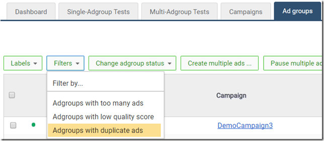 Filter for duplicate ads thumbnail