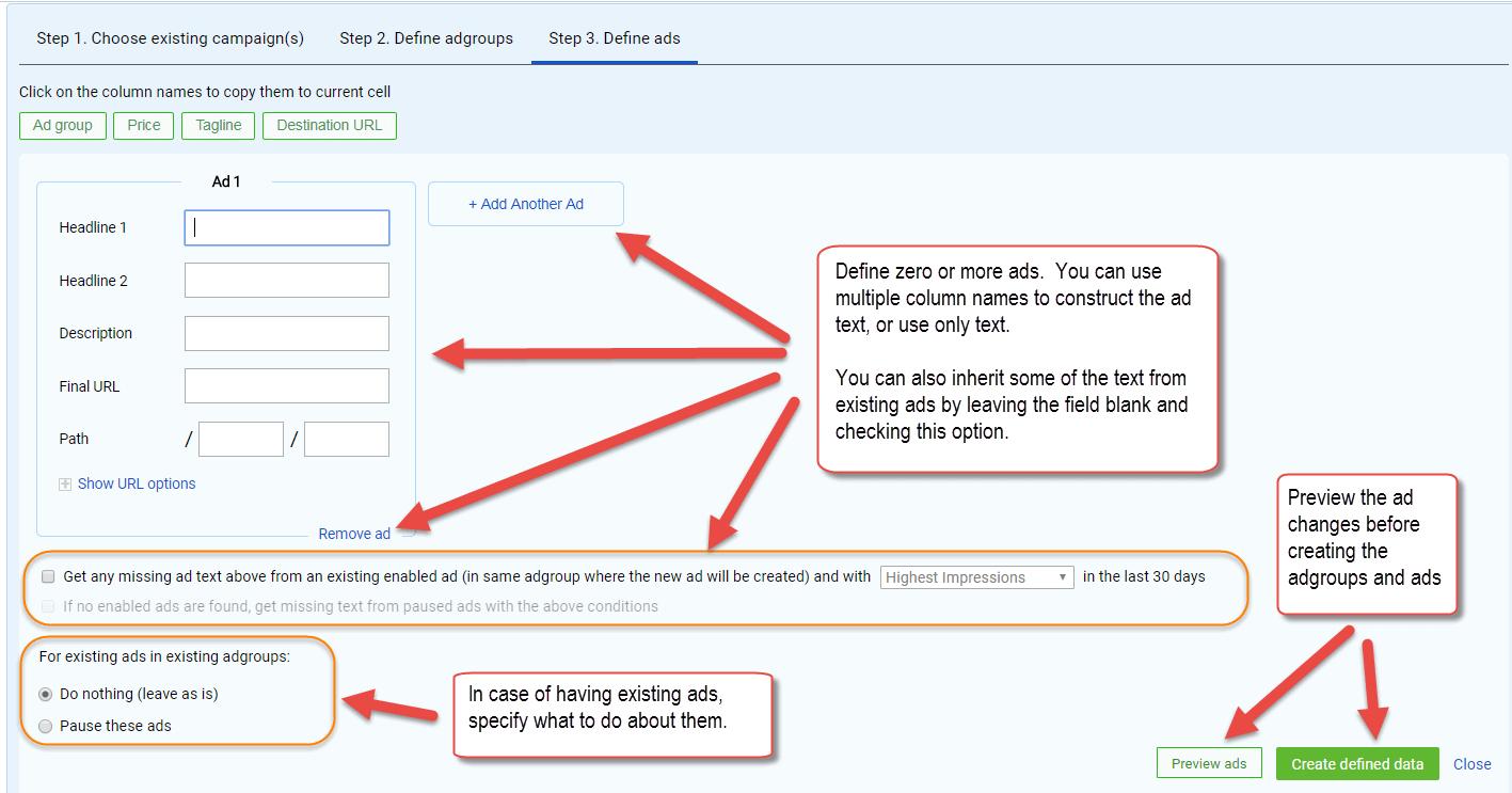 Bulk adgroups and ads creation tool