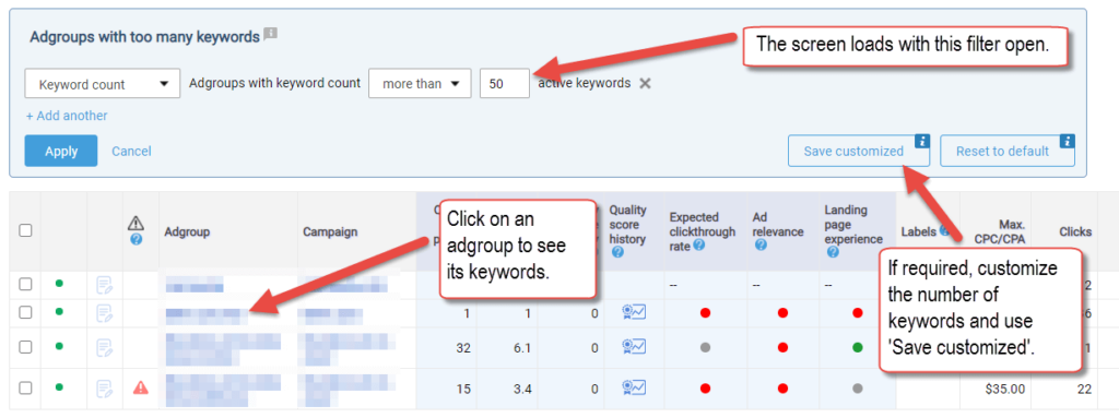 Easily discover and reorganize Ad groups with too many keywords