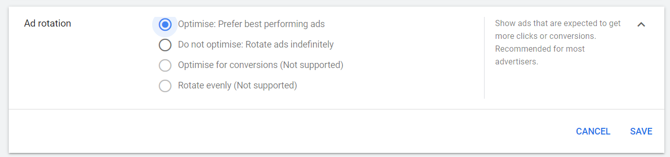 Ad Rotation Settings in the Google Ads account