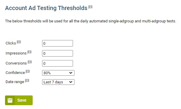 Account Testing thresholds in Adalysis