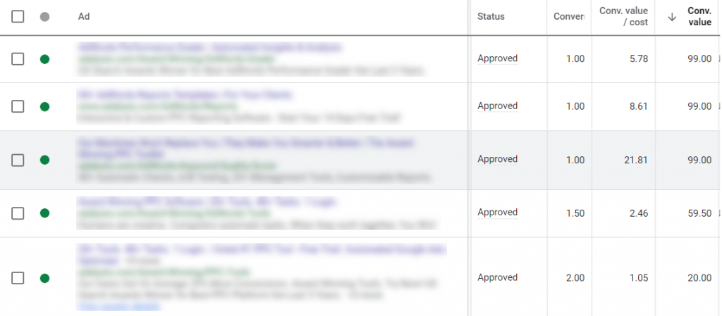 Conversion Value column in the Google Ads interface